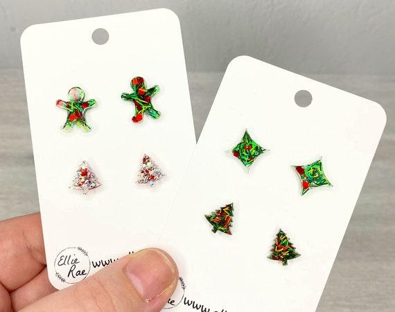Christmas Duo Set of Glitter Resin Stud Earrings