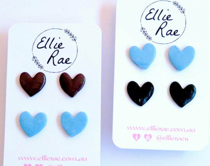 Polymer Clay Heart Stud Earring Duos