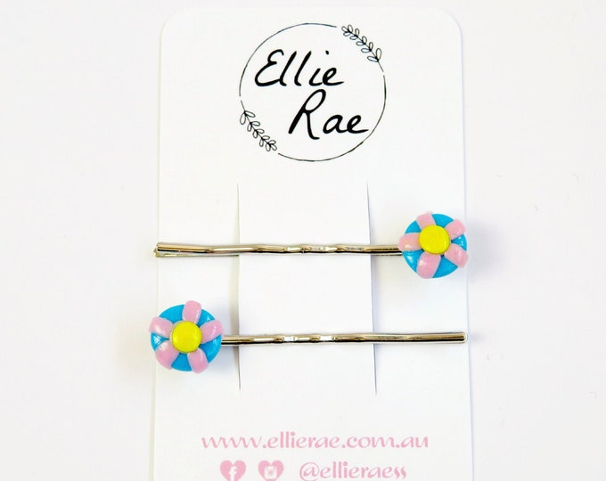 Floral Clay Hair Pins