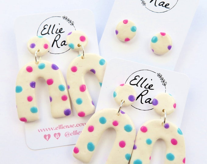 Polka Dot U Dangle Stud Earrings | Pink Purple Blue White | Bright Pastel Cute Statement Bold Jewellery