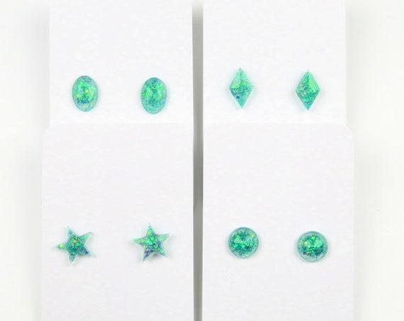 Mint Green Glitter Resin Stud Earrings