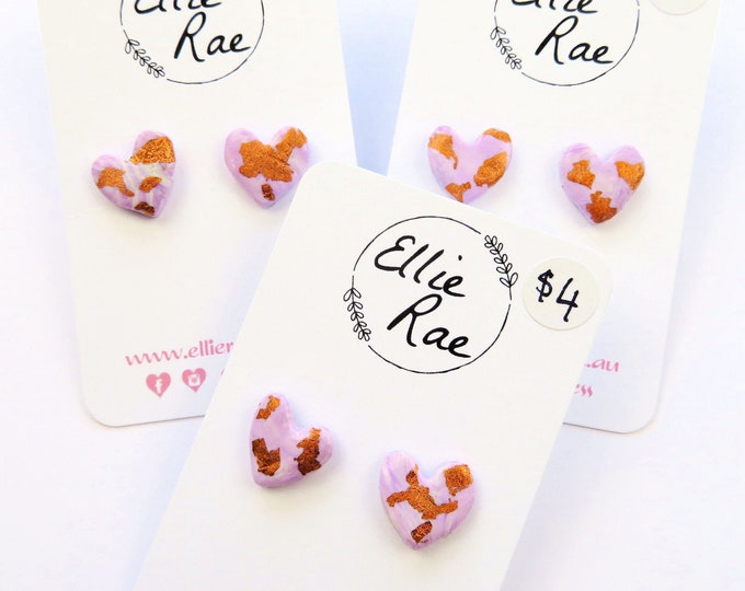 Purple Polymer Clay Heart Studs with Rose Gold Foil