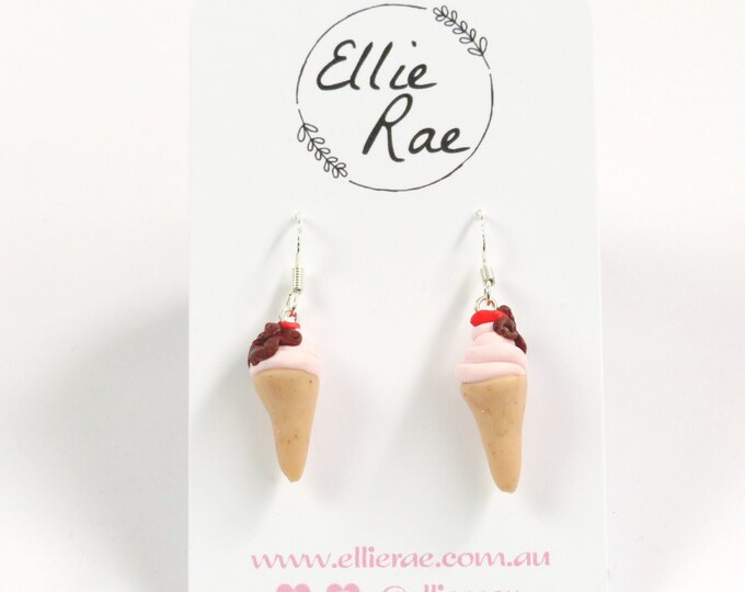 Ice Cream Cone Polymer Clay Earrings