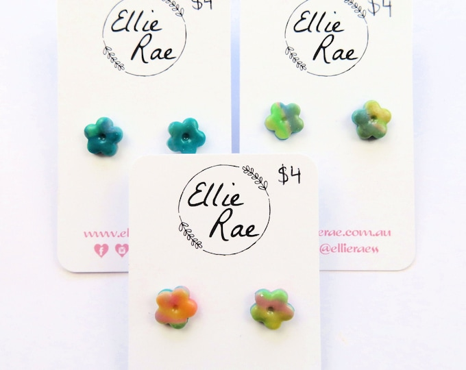 Mixed Colour Polymer Clay Mini Flower Stud Earrings | Blue yellow colourful studs floral flowers marbled green pink orange
