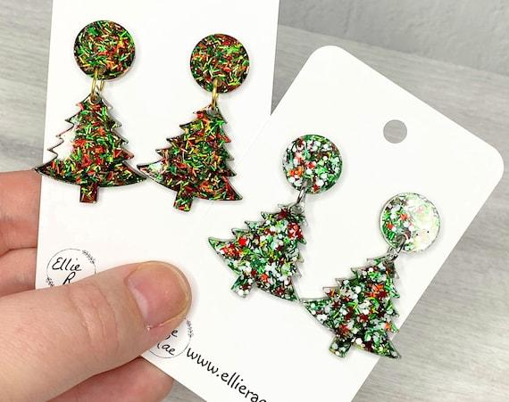 Christmas Tree Dangle Glitter Resin Dangle Stud Earrings