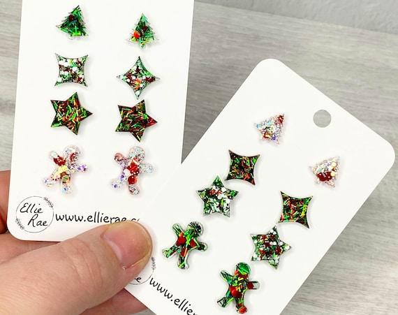 Christmas Quad Set of Glitter Resin Stud Earrings