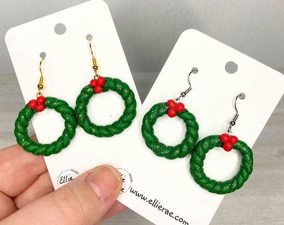 Christmas Wreath Holly Polymer Clay Festive Dangle Earrings