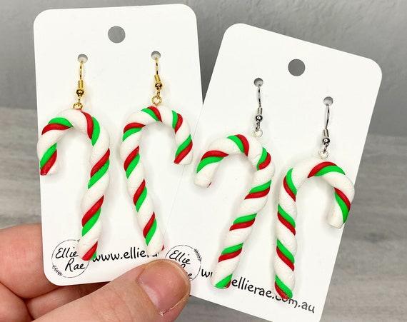 Christmas Candy Cane Polymer Clay Festive Dangle Earrings