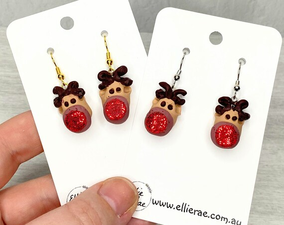 Christmas Rudolf Reindeer Polymer Clay Festive Dangle Earrings