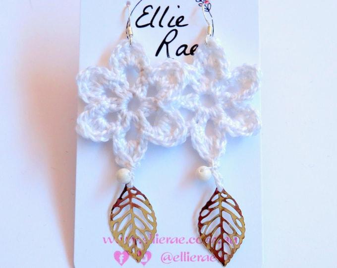 Crochet Flower Earrings with Howlite Bead and Leaf Charm