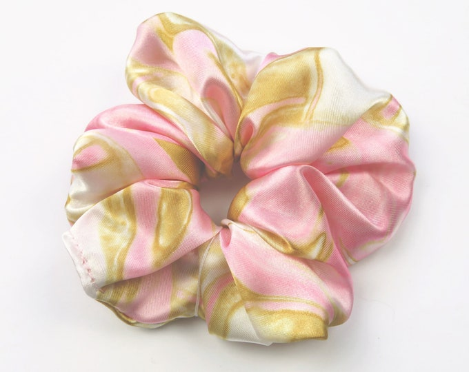 Pink and Gold Marble Satin Scrunchie