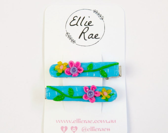 Floral Clay Hair Clips