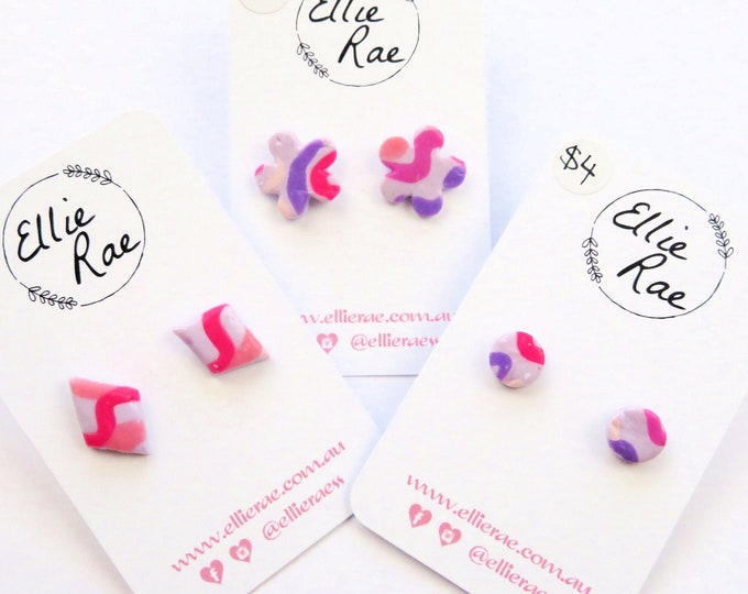 Bright Pink and Purple Squiggle Stud Earrings