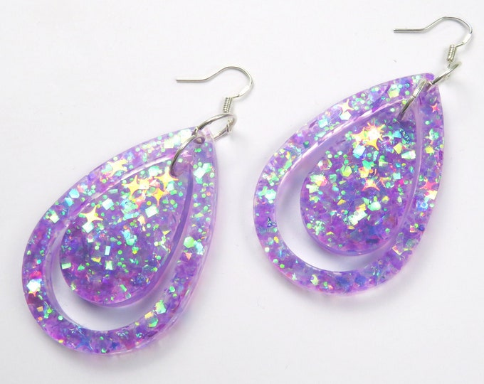 Tear Drop Glitter Resin Earrings