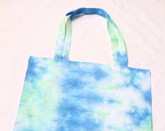 Green and Blue Tie Dye Tote Bag | Scrunch Colourful Shopping Bag