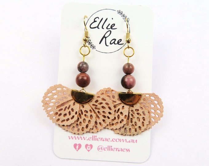 Rhodonite and Faux Leather Tassel Dangle Earrings