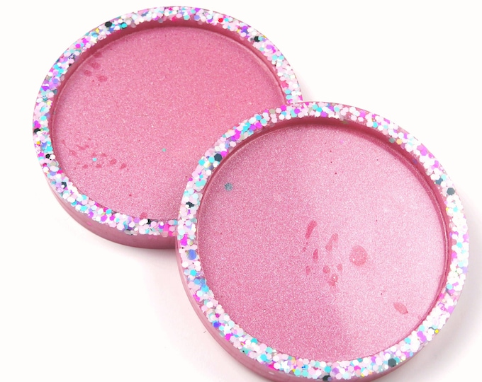 Pink and Glitter Resin Coasters