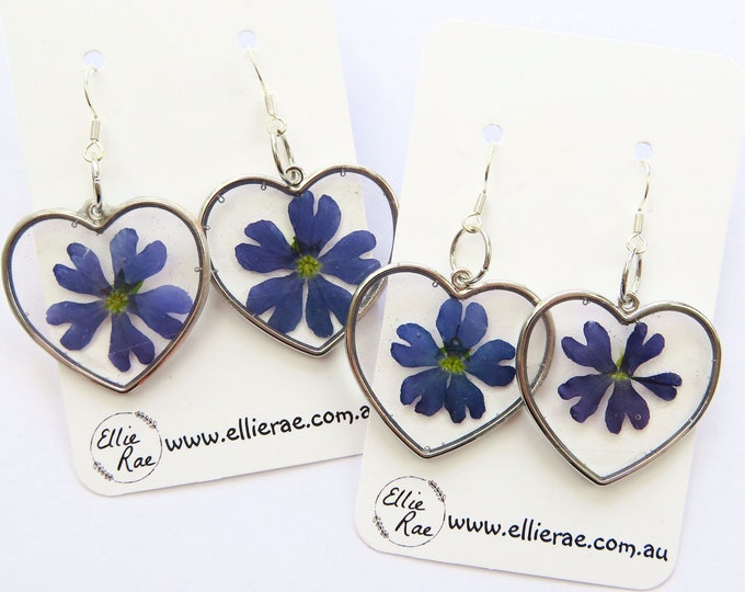Silver Heart Disc Pressed Flower Resin Dangle Earrings with Purple Flowers