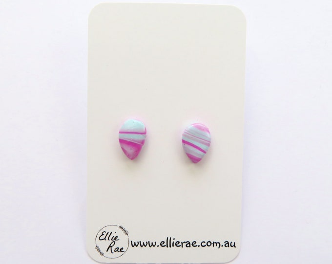 Pink and Blue Marbled Polymer Clay Tear Drop Stud Earrings