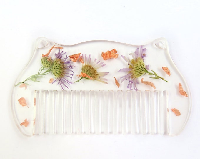 Pressed Flower Resin Comb with Rose Gold Foil Flakes
