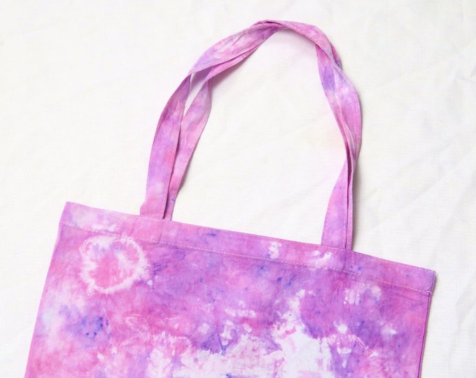 Pink and Purple Circle Tie Dye Tote Bag | Scrunch Bright Colourful Dyed Shopping Bag