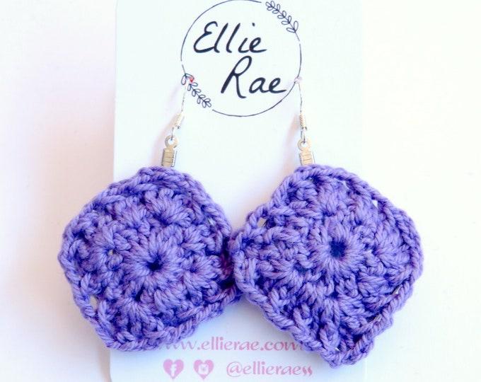 Chunky Purple Crochet Earrings