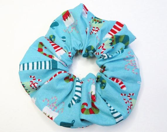 Christmas Stockings Blue Festive Scrunchies Hair Tie