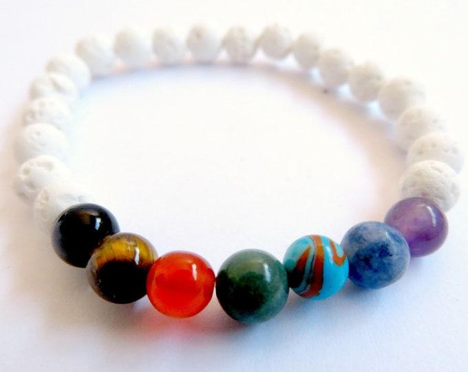 Chakra Gemstone and White Lava Bead Bracelet