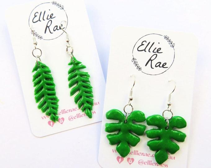 Green Plant Leaf Polymer Clay Dangle Earrings | Fern Monstera Leaves