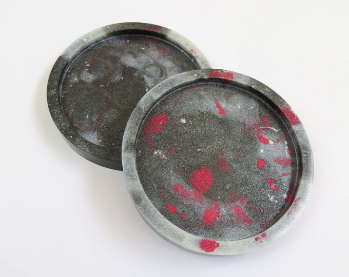 Black Silver and Red Round Resin Coasters