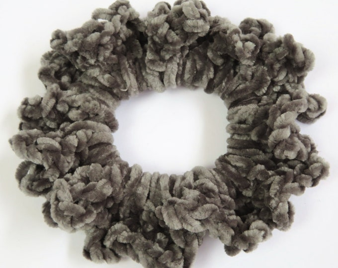 Dark Grey Crochet Scrunchie
