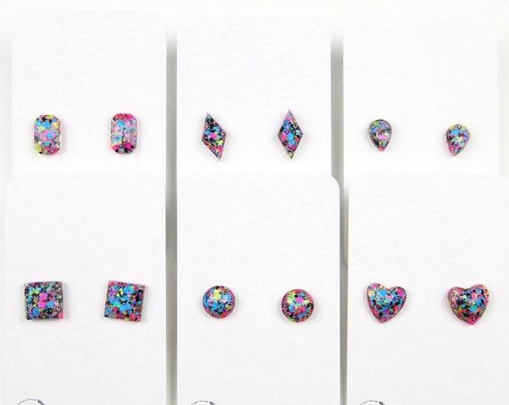 Bright Colourful Confetti Glitter Resin Stud Earrings