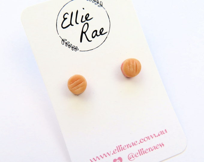 Mini YoYo Biscuit Cookie Stud Earrings