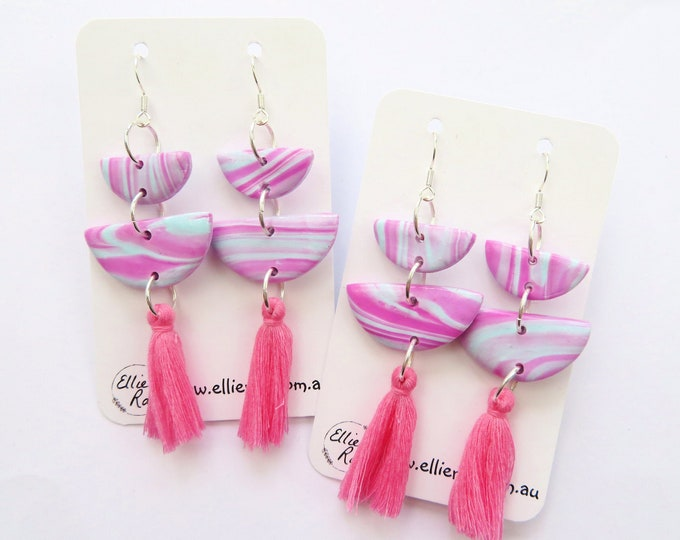 Pink and Blue Marbled Polymer Clay Semi Circle Dangle Earrings with Tassels