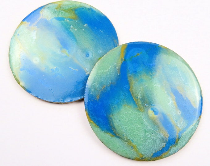 Blue Green Teal and Gold Ripple Resin Pearl Round Coaster Duo