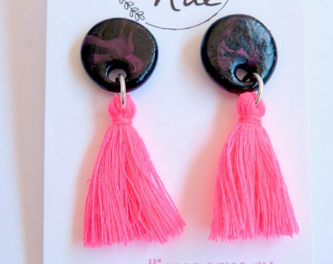 Fluro Pink Tassel Clay Stud Earrings