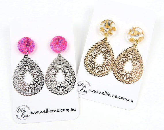 Glitter Resin Stud Earrings With Tear Drop Gold and Silver Patterned Accent