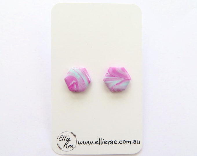 Pink and Blue Marbled Polymer Clay Hexagon Stud Earrings