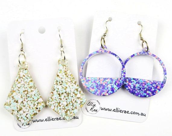 Resin Chunky Glitter Bold Statement Earrings
