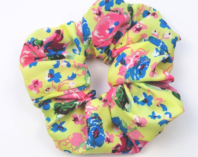 Bright Yellow Floral Scrunchie