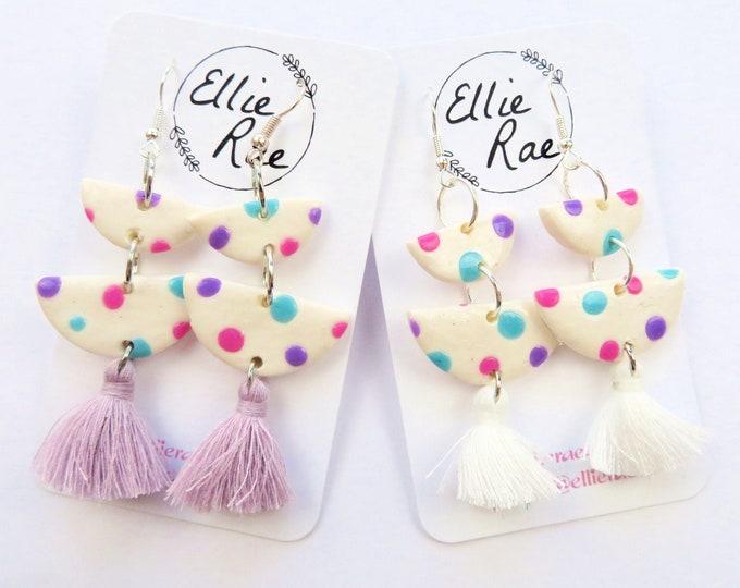 Pastel Polka Dot Semi Circle Dangle Earrings With Tassels