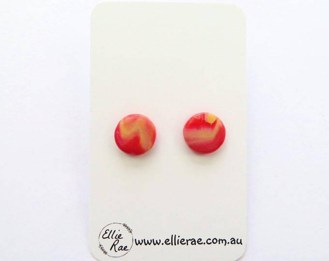 Red and Orange Marbled Round Polymer Clay Stud Earrings