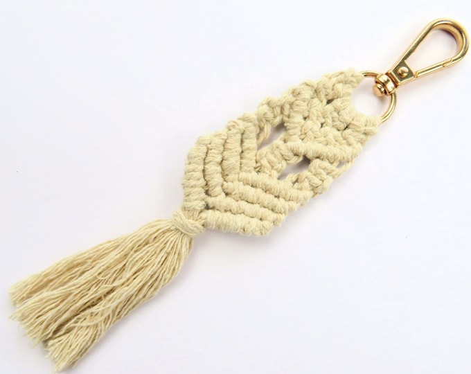 Natural Cotton Macrame Pattern Key Chain with Gold Hook