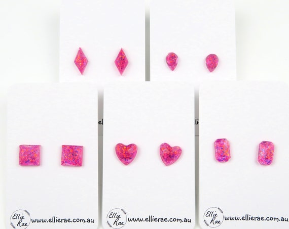 Pink Raspberry Mylar Flake Glitter Resin Stud Earrings