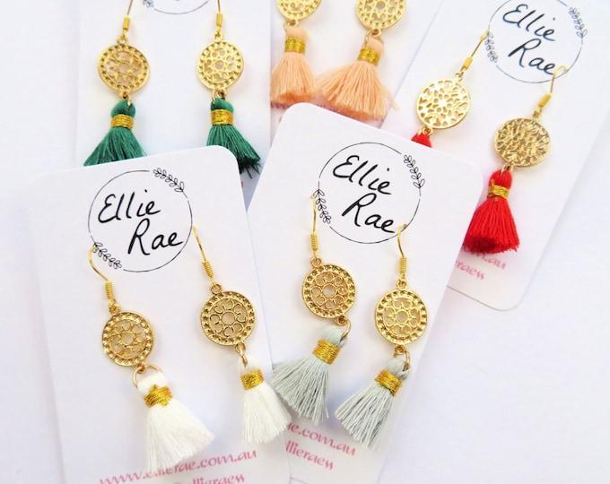 Gold Charm and Colourful Tassel Dangle Earrings
