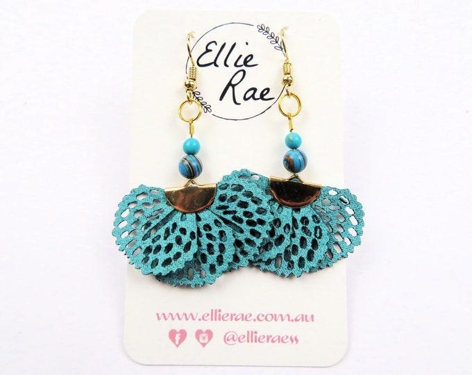 Turquoise Malachite and Faux Leather Tassel Dangle Earrings