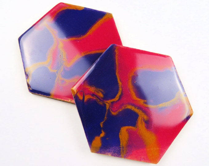 Pink Purple and Gold Hexagon Pearl Pigment Resin Coaster Duo