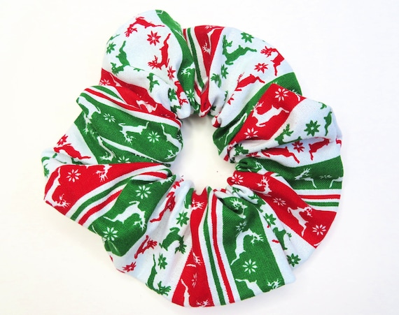 Christmas Sweater Patterned Festive Scrunchies Hair Tie