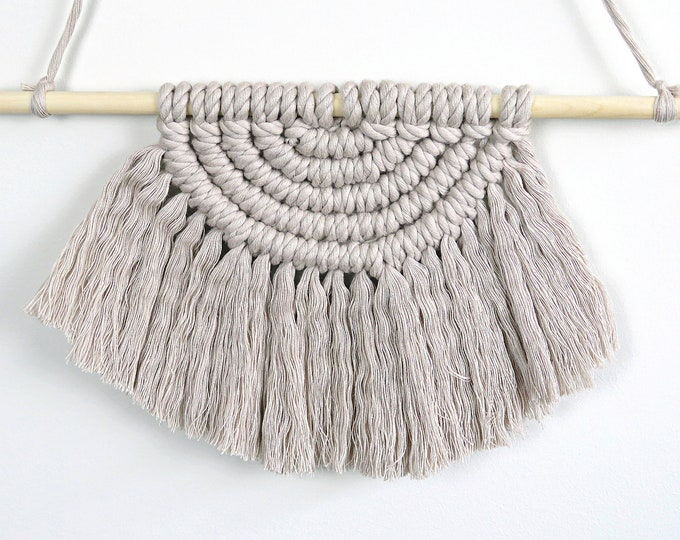 Light Grey Semi Circle Macrame Wall Hanging