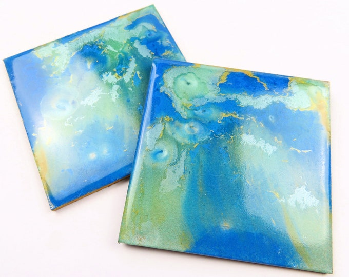 Blue Teal and Gold Ripple Pearl Resin Square Coaster Duo